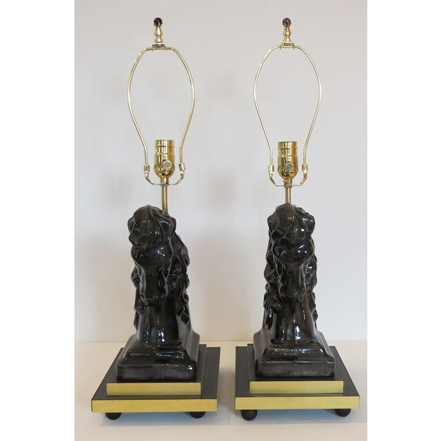 Mid- Century Ceramic and Brass Horsehead Lamps - A Pair - Image 2 of 7