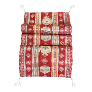 Turkish Red, Gold & Black Kilim Patterned Table Runner or Bed Throw