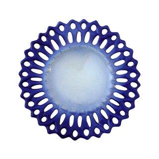 Vintage Portuguese Majolica Ceramic Blue Platter