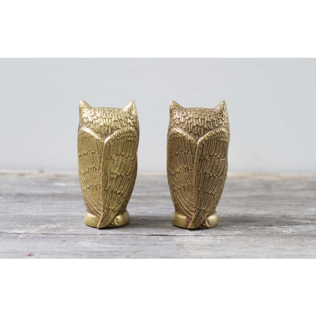 Brass Plated Owl Figurines - A Pair - Image 4 of 7