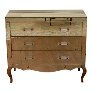 Mirrored Art Deco Three Drawer Chest with Brass Accents