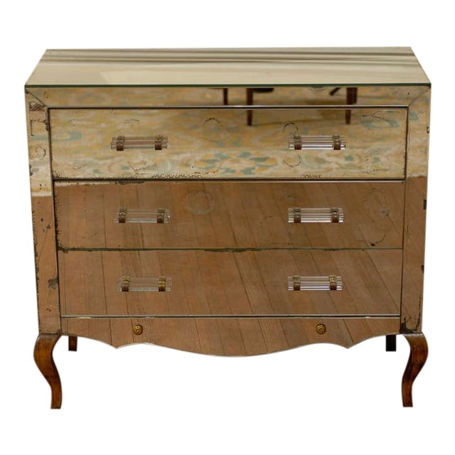 Mirrored Art Deco Three Drawer Chest with Brass Accents - Image 1 of 9