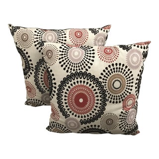 """24"""" Modern Multicolor Floral Flocked Pillows - a Pair"""
