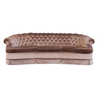 Hollywood Regency Mocha Velvet/Velour Tufted Sofa