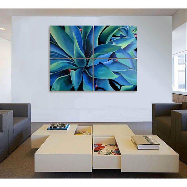 'Silver Blue Agave' Acrylic Painting - Image 8 of 9