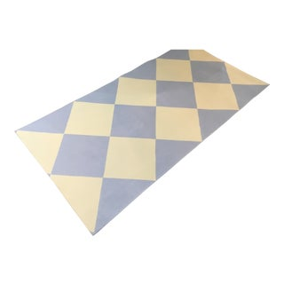 Yellow & Blue Harlequin Floorcloth - 2′10″ × 5′9″