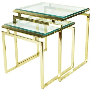 Pair of Brass & Glass Modernist Nesting Tables