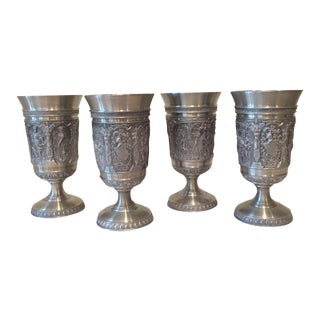 Vintage Embossed Pewter Cups - Set of 4