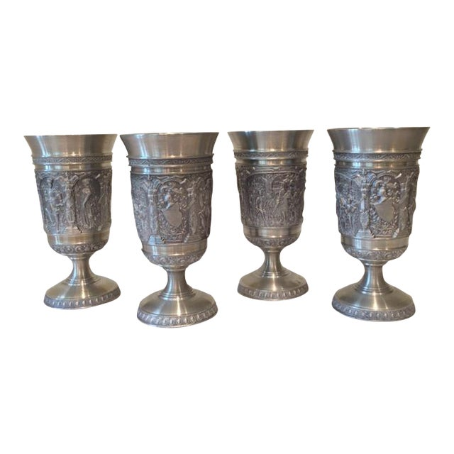 Image of Vintage Embossed Pewter Cups - Set of 4