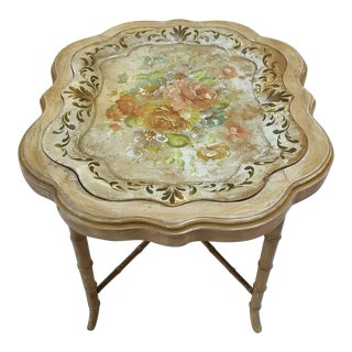 Vintage Floral Tole Tray Table