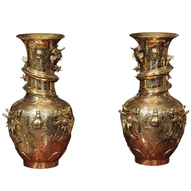 Image of Qing Dynasty Bronze Vases - A Pair