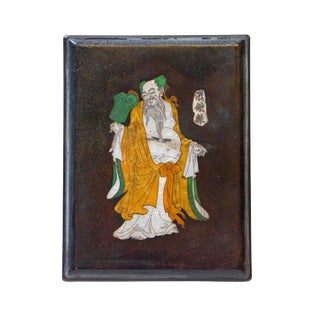 Chinese Stone Ink Pad W/ Mother-of-Pearl Eight Immortals Zhongli Quan Box