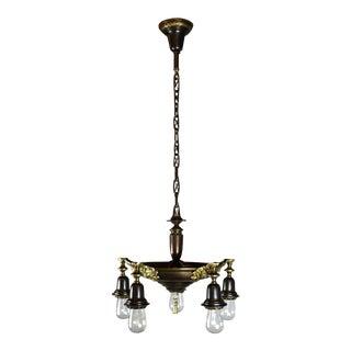 5-Light Bare Bulb Antique Pan Fixture