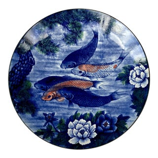 Vintage Hand Painted Asian Koi Fish Platter