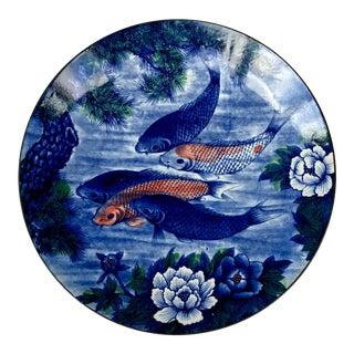 Vintage Hand Painted Asian Koi Fish Platter