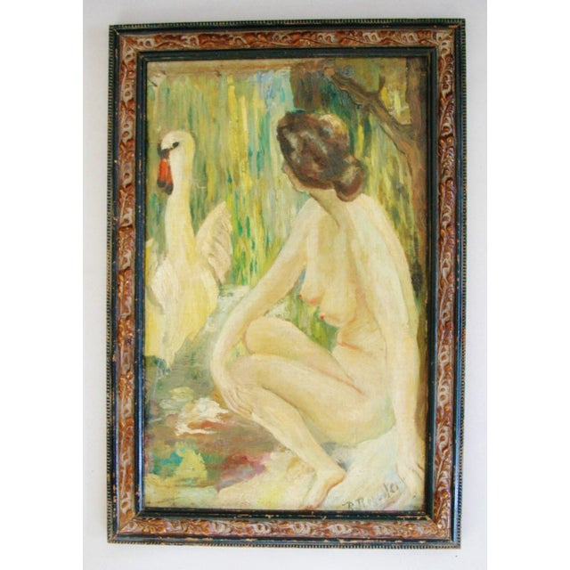 1940s French Oil Painting of Female Nude W/ Swan - Image 2 of 7
