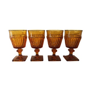 Amber Glass Goblets - Set of 4