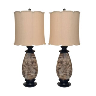 Pair of Ceramic Lamps by James Mont
