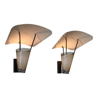 Pair of Jacques Biny Sconces. Perforated metal and Enameled Steel, France, 1950s