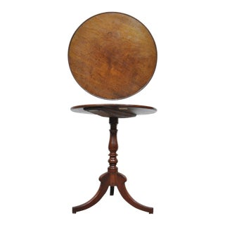 Vintage English Duncan Phyfe Style Solid Mahogany Round Side Table