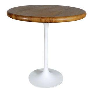 Mid-Century Saarinen Style White Tulip Base Oak Top Table