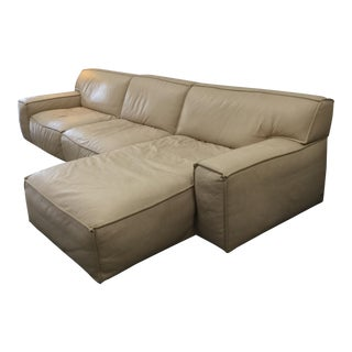 Neutral American Leather Sectional