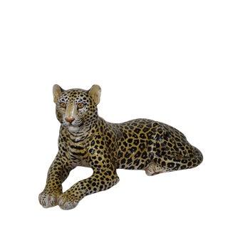 Vintage Italian Pottery Leopard Statue