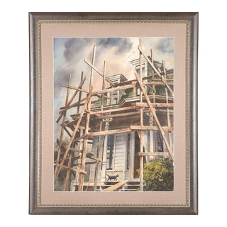 Victorian Home & Black Cat Vintage Watercolor Painting