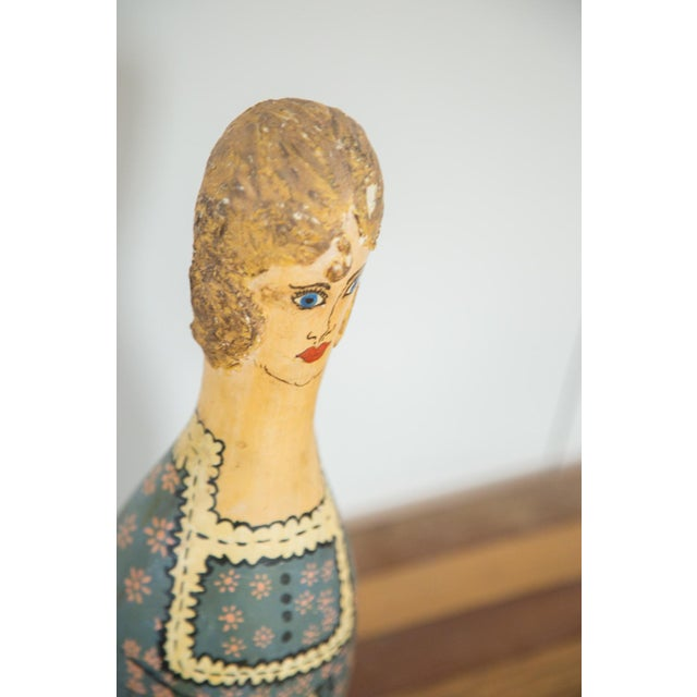 Image of Vintage Folk Art Painting Bowling Pin