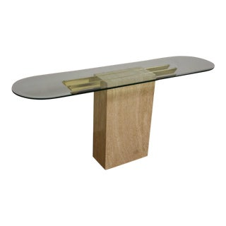 Travertine & Brass Modern Sofa Table