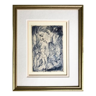 Expressionist Drawing of Man with Nudes by Richard Ericson