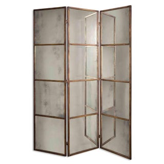 Antiqued Mirrored Iron Frame Screen