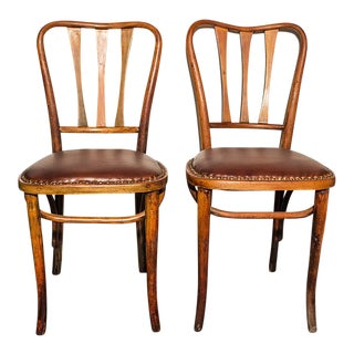 1900s Vintage Thonet Leather Seat Bistro Chairs - a Pair