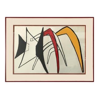 Graphic Forms in Red, Black and Yellow Lithograph by Alexander Calder