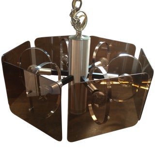 1970's Chrome and Smoked Lucite Pendant Lamp