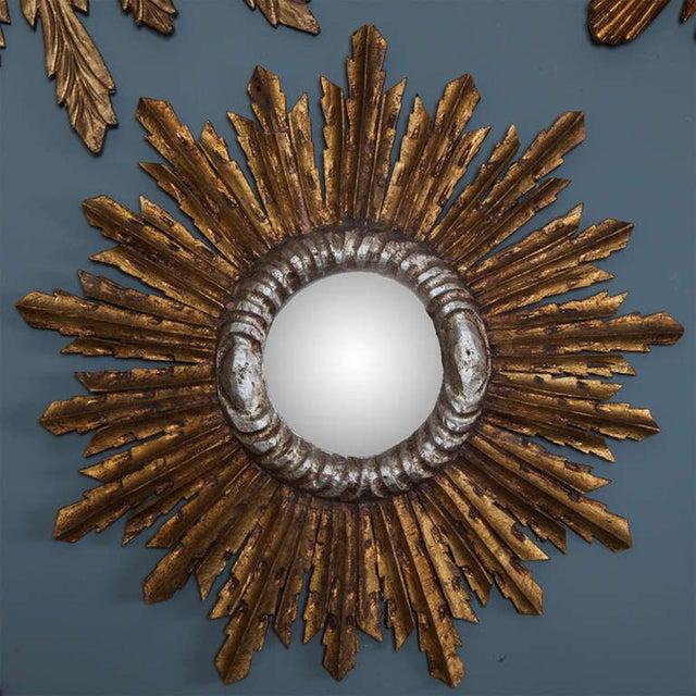 Image of Gilt Wood Sunburst Mirror With Silver Leaf Trim