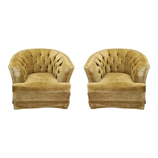 Mid-Century Tufted Back Velvet Lounge Chairs - A Pair