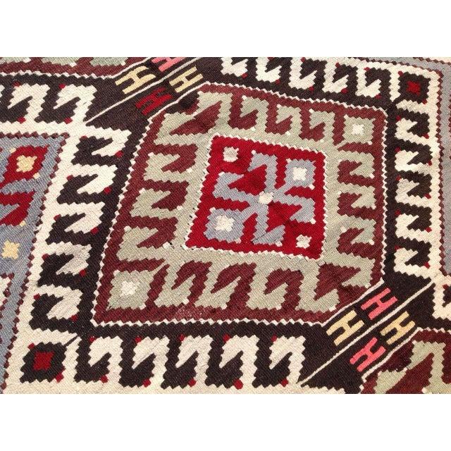 "Vintage Turkish Kilim Chevron Diamond Flat-Weave Wool Handwoven Rug - 5'5"" X 8'5"" - Image 6 of 6"
