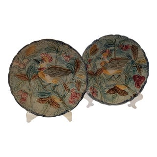 French Majolica Bird Plates - A Pair