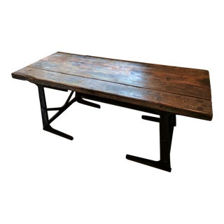 Reclaimed Teak & Antique Steel Dining Room Table