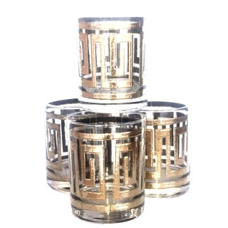 Gold Greek Key Fret Culver Rocks Glasses - Set of 4