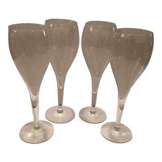 Vintage Crystal Champagne Flutes - Set of 4