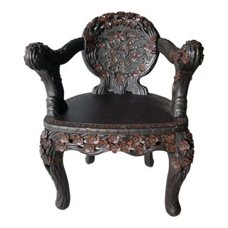 19th Century East Asian Carved Wood Chair