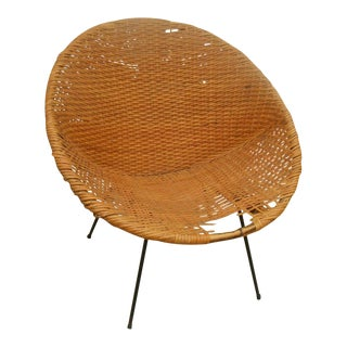 Black Iron & Wicker Atomic Saucer Disc Chair