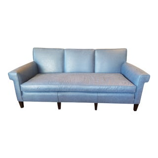 Vintage Blue Vinyl Upholstered Sofa