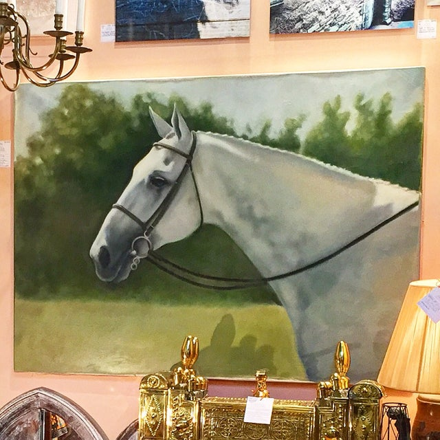 Tina Duryea 'Classic Grey' Horse Oil Painting - Image 3 of 4