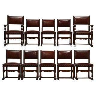 Antique Baroque Leather Dining Chairs - Set of 8