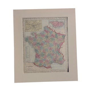 Antique Map of France Including Paris & Corsica