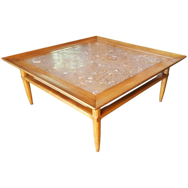 Tomlinson square coffee table with fossil marble chairish for Fossil coffee table