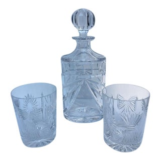 Waterford Overture Decanter & Old Fashion Glasses - Set of 3